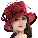 Ladies Hats: Kentucky Derby Occasion Cap (wine red)